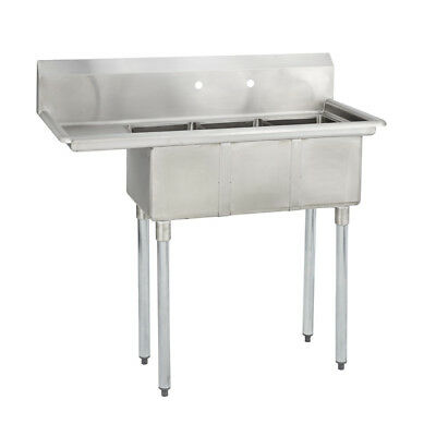 3 Three Compartment Commercial Stainless Steel Sink 44.5 X 19.8