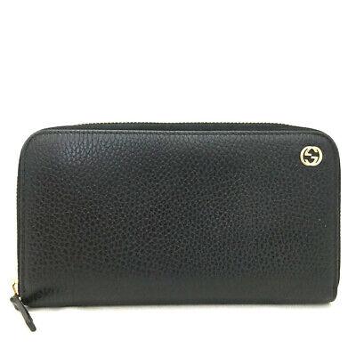 GUCCI Interlocking G Black Leather Zippy Zip Around Long Wallet / o717