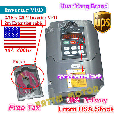 Us 2.2kw 220v Vfd Inverter 3hp Variable Frequency Drive 10a Vsd Cnc Hy Brand