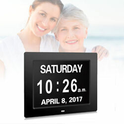 8 Digital Calendar Day Clock Electronic Alarm Extra Large Clear Memory Loss BK