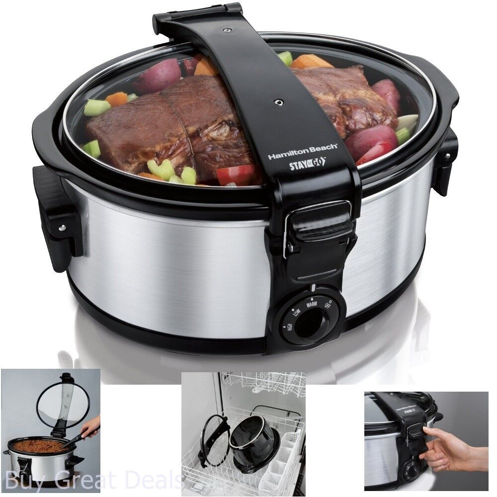 Pot Slow Cooker 6 Quart Programmable Oval Stainless Sealed C