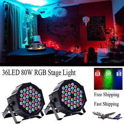 - 2PCS 36LED 80W RGB Par Stage Lighting Mixing Church Wedding DJ Party Club Light