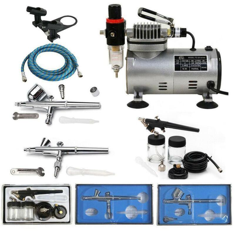 Portable 3 Airbrush Compressor Kit Dual Action Spray Air Brush Tattoo Nail Tool