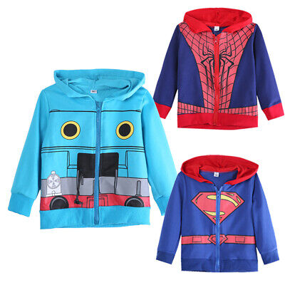 1-6Y Baby Boy Superman Hoodie Kids Coat Jacket Hooded Sweatshirt Costume