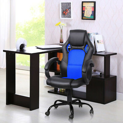Racing Style High Back Bucket Seat Gaming Chair Swivel Office Desk Task Blue