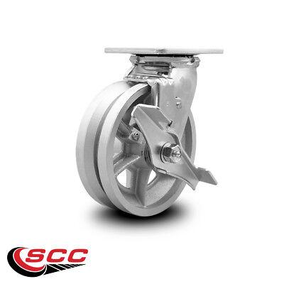 Scc 6 X 2 V Groove Semi Steel Wheel Swivel Caster Wbrake - 1200lbscaster