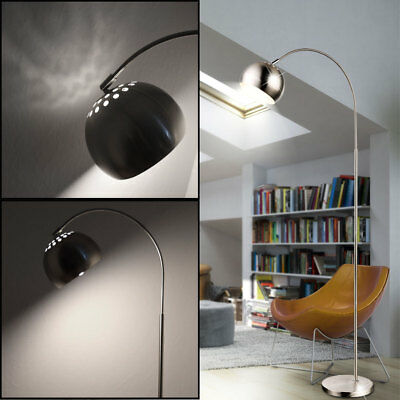 Design LED Bogen Steh Lampe Wohn Arbeits Zimmer Schalter Lese Beleuchtung silber