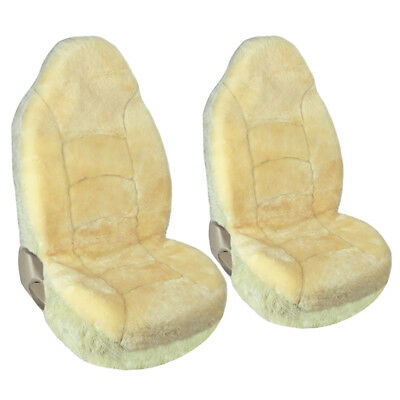 Car Seat Covers 2Pc High Back Fit Universal Australian Sheepskin Champagne