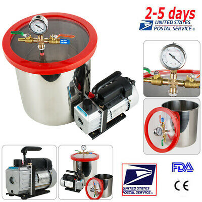 5 Gallon Stainless Steel Vacuum Chamber Kit Degassing W Non-stick Silicone Pad