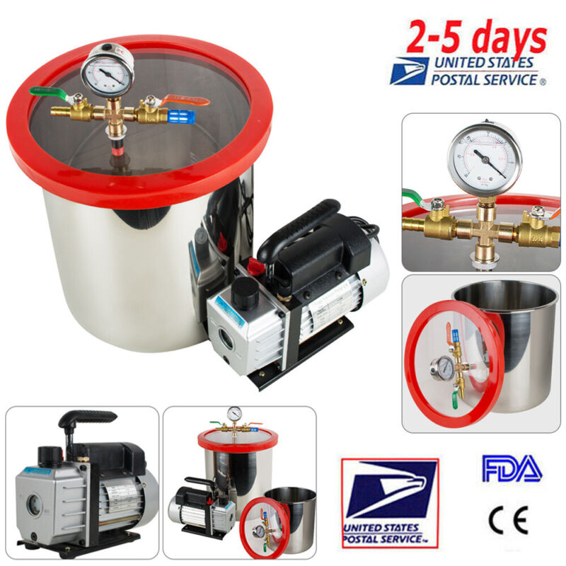 5 Gallon Stainless Steel Vacuum Chamber kit Degassing w/ Non-Stick Silicone Pad!