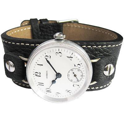 14mm Fluco Vigo Black Riveted Leather Military German Wire Lug Watch Band (Black Leather Strap Lug)