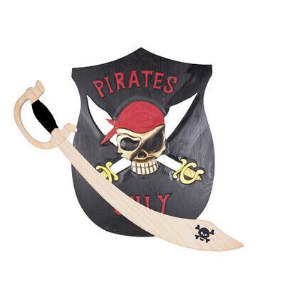 Pirat Holz Schild Echtholz 55 cm Säbel Piratensäbel Schwert Holzschwert Piraten