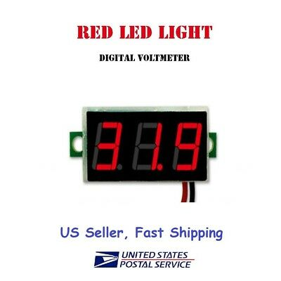 Mini Dc Voltmeter Led 3-digital Display Panel With 2 Wires - Us Seller Fast Ship