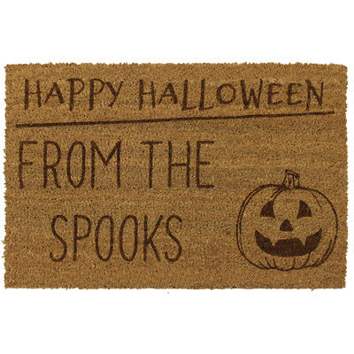 JVL Halloween Pumpkin Personalised Laser Printed Custom Coir Door Mat - Personalized Halloween Doormat