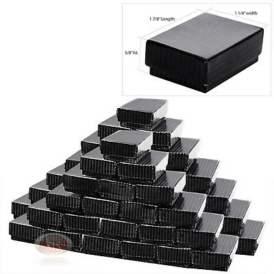 50 Black Pinstripe Cotton Filled Jewelry Gift Boxes 1 78 X 1 14 X 58