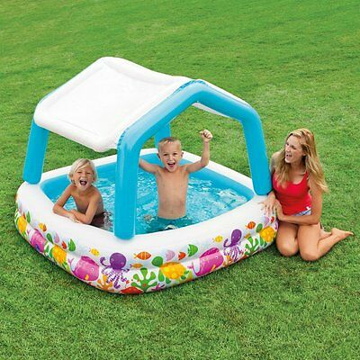 """Inflatable Swimming Pool Kids w/Murk Cover 62"""" X 62"""" X 48"""" 74 Gallon Summer NEW"""