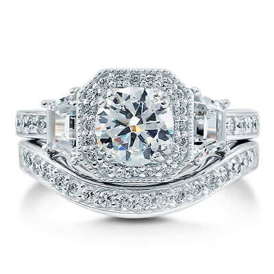 BERRICLE Sterling Silver Round CZ Art Deco Halo Engagement W