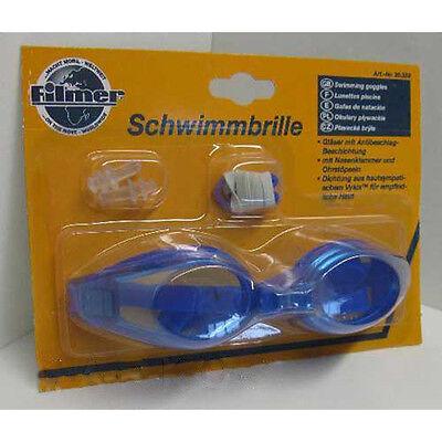 Schwimmbrille, Kunststoff,Nasenklammer Ohrenstöpsel,Schwimm Taucher Brille, blau