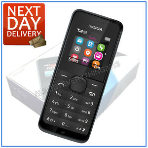 BRAND NEW NOKIA 105 MOBILE PHONE BLACK UNLOCKED SIMFREE BOXED UK SPEC BOXED