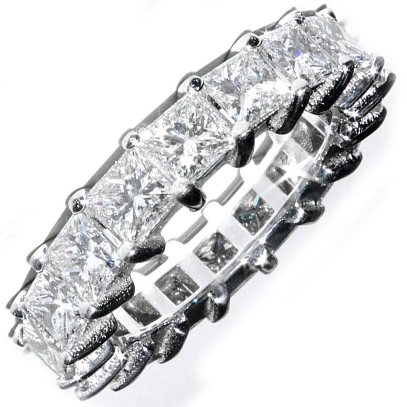 Princess Cut 14k Gold Eternity Ring 3.00 Carat Diamond Dia Certified