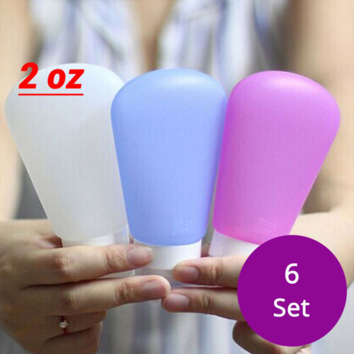 6 EMPTY 2 oz Various Color Soft Silicone Squeezable Dispense