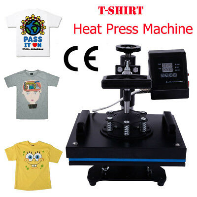 Heat Press Machine With Lcd Temperature Control For T-shirt Black 110v 650w