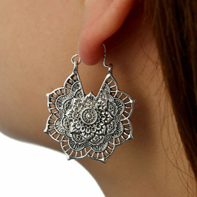 Antique silver Gypsy Indian Tribal Ethnic Hoop Dangle Mandala Earrings (Antique Indian Jewellery)