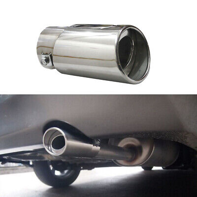 Car Silver Universal Round Stainless Steel Chrome Exhaust Tail Muffler Tip Pipe