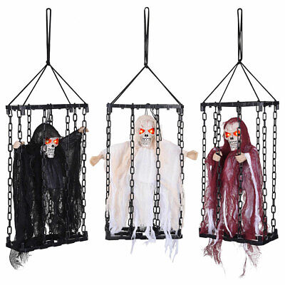 Prisoner Skeleton Halloween Prop (Scary Halloween Prop Animated Hanging Caged Ghost Chained Body Skeleton)