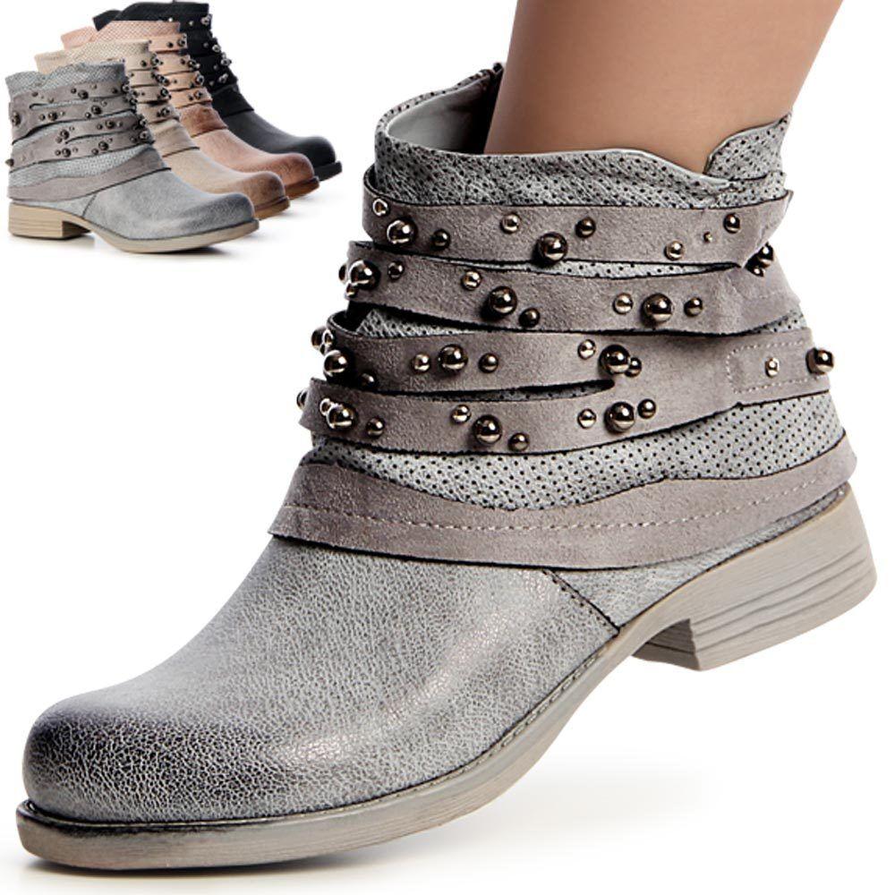 Damen Stiefeletten Biker Worker Boots Stiefel Booties Nieten Riemen