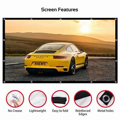 Projector Screen HD 3D 4K Movie 16:9 Portable Home Cinema Outdoor Camp Theater
