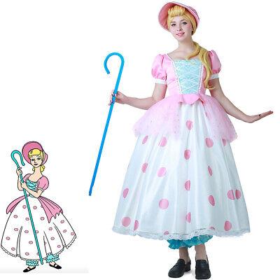 Toy Story Little Bo Peep Cosplay Dress Costume Fancy Dress Including Hat (Little Bo Peep Costume)