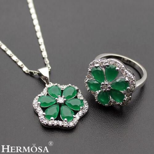 emerald floral set 925 sterling silver necklace