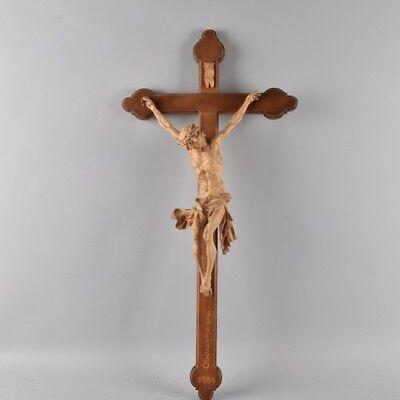 XL VINTAGE OBERAMMERGAU NEOGOTHIC CARVED WOOD WALL CHURCH CRUCIFIX MARKED