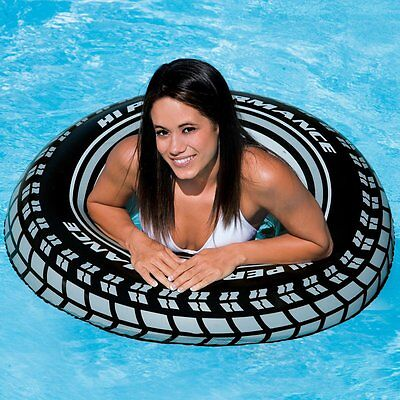 """35"""" INFLATABLE RUBBER RING HOLIDAY BEACH POOL PARTY HOOP SWIM FLOAT TUBE BLACK"""