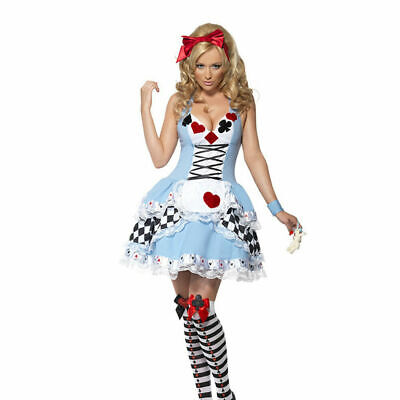 Alice In Wonderland Costume Party (Halloween Fancy Dress Alice in Wonderland Costume Sexy women Adult Party Outfit)