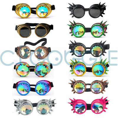 US Goggles Retro Punk Steampunk Kaleidoscope Glasses lens Party Cosplay Lot (Kaleidoscope Lens)