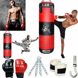 Heavy Boxing Punching Bag Training Gloves Sd Set Kicking Mma Workout Empty Us