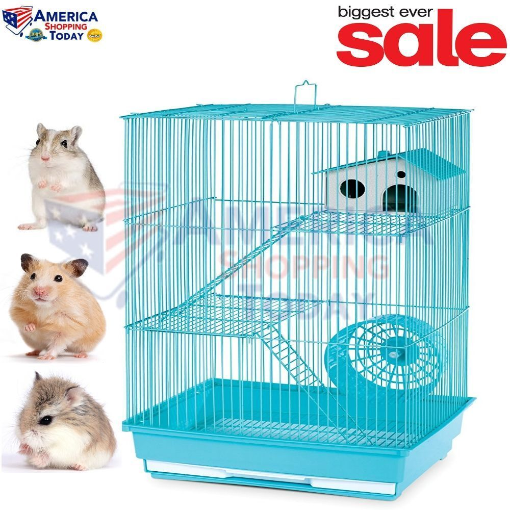 Hamster Gerbil Mouse Pet Cage 3 Level Pig Rat Home Wire S...