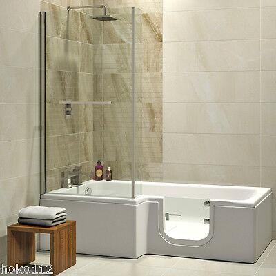 Badewanne mit Tür 170x85/70cm + Duschabtrennung + Wannenschürze + Ablauf/Sifon