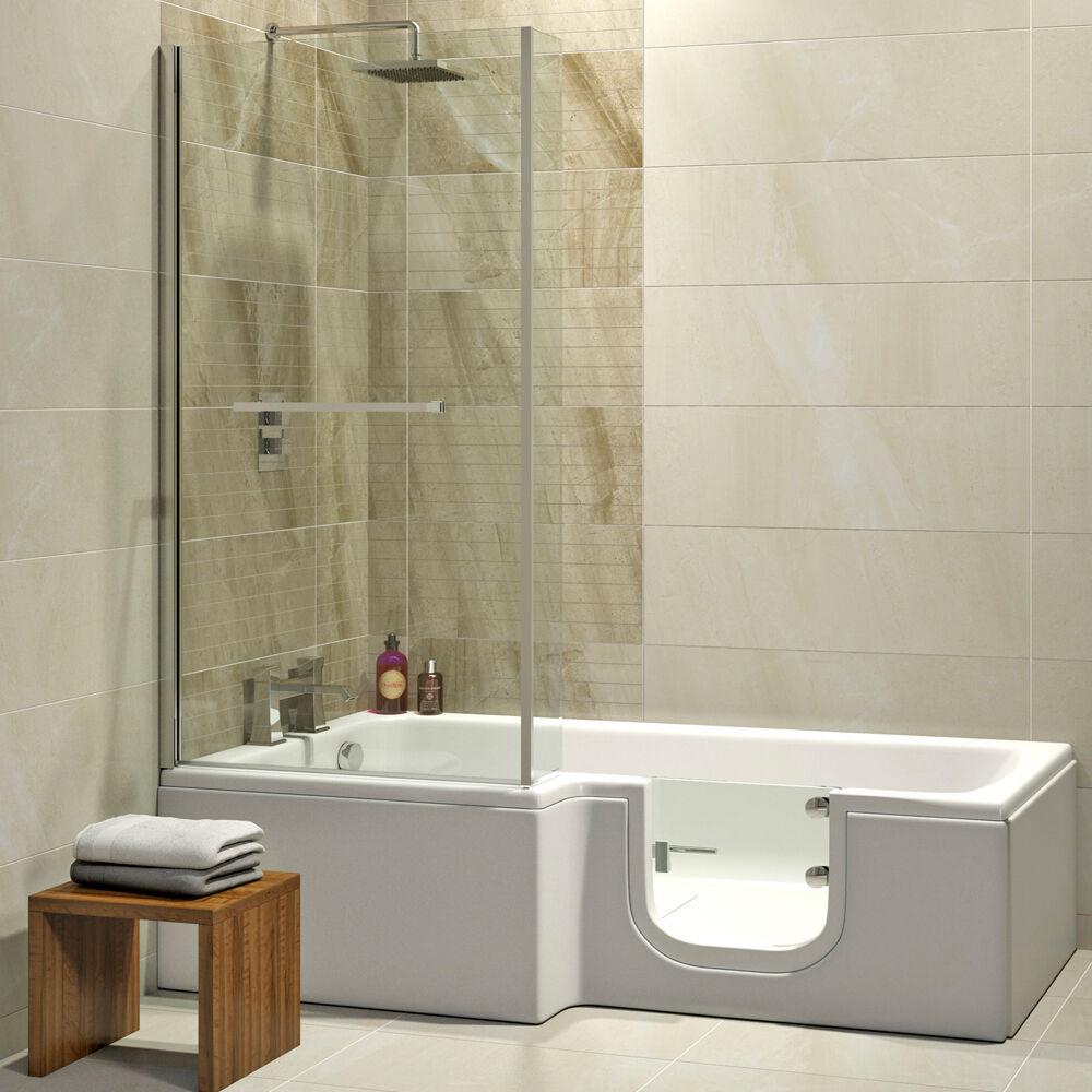 Badewanne mit Tür 170x85/70cm + Schürze + Ablauf, wahlweise auch mit Duschkabine