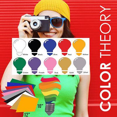 "Heat Transfer Vinyl, 10-Color BUNDLE (10"" x 12"" Sheets) - Iron On, Cameo Cricut"