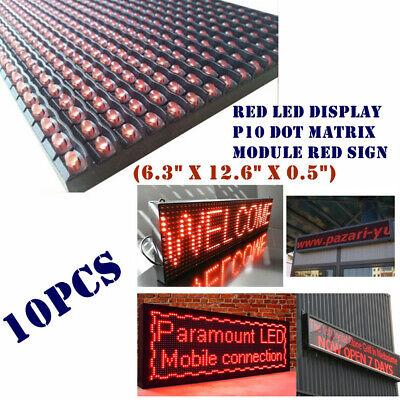 Us 10pcs Red Led Display P10 Dot Matrix Module Red Sign6.3 X 12.6 X 0.5