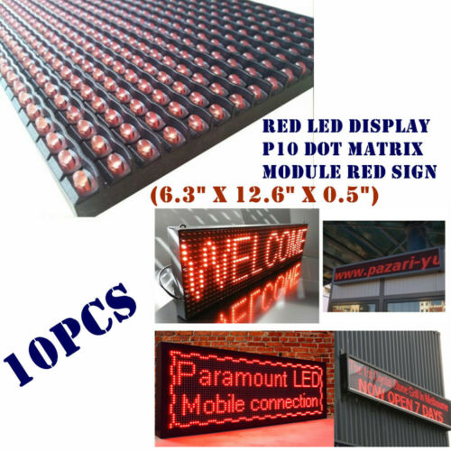 "US 10pcs RED LED Display P10 Dot Matrix Module Red Sign(6.3"" x 12.6"" x 0.5"")"