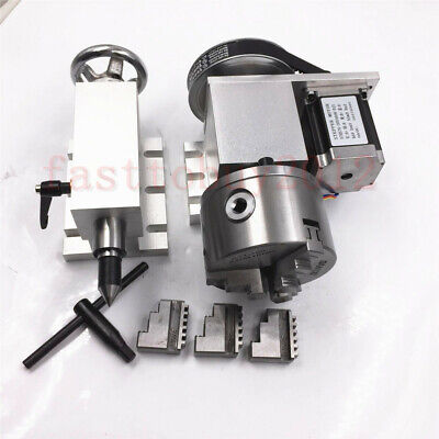Cnc Router Rotational Rotary Axis A-axis 4th-axis 100mm 3-jaw Chuck  Tailstock
