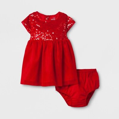 Cat & Jack Dress Size Newborn 2 Pc Set Party Christmas Holiday Red Sequins NEW