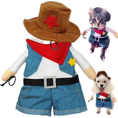 Small Dog Costume Cowboy Fun Party Cosplay Clothes Pet Cat Jacket French - Cowboy Cat Kostüm