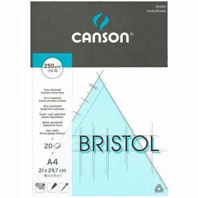 - Canson Bristol Drawing Paper Pad 20 A4 Sheets 250 gsm Resistant Extra Smooth