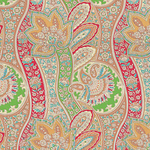Cotton-Satin-Bed-Clothworks-Fabric-Oriental-Paisley-Red