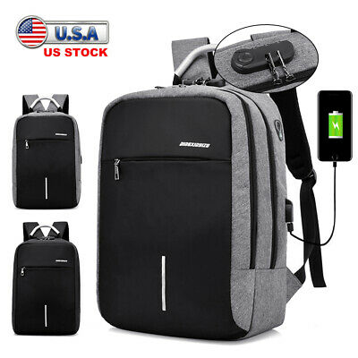 Anti-theft Laptop Backpack USB Charge Port School Travel Computer Bag Men Women